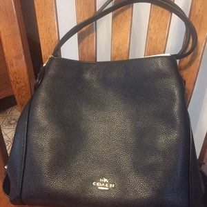 New Coach 57125 Black Pebbled Leather Edie 31 Bag